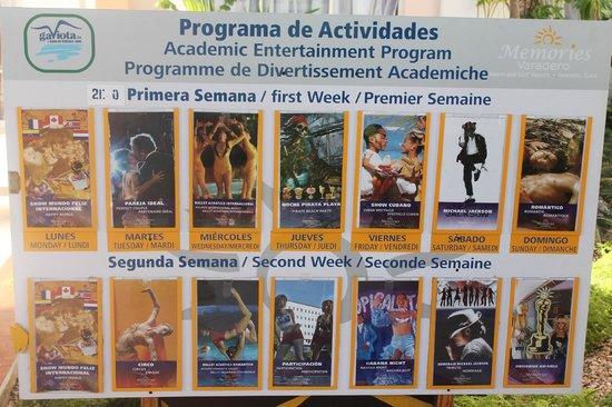Memories Varadero Beach Resort: show schedule