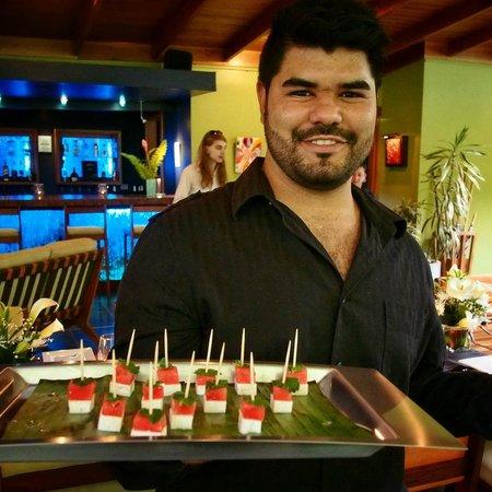 Monte Azul: Fresh feta and watermelon appetizers
