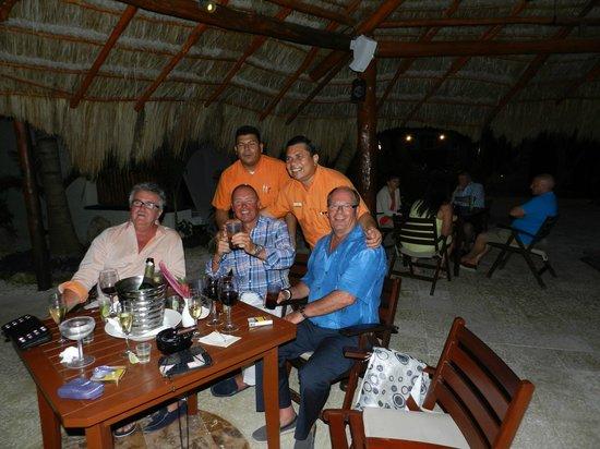 El Dorado Maroma, a Beachfront Resort, by Karisma: Boys night out in Bar24 (Frankies bar orange shirt on the right)