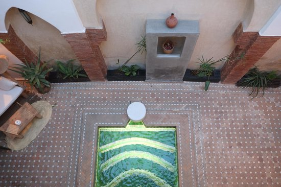 Riad Shambala: View of courtyard from first floor of riad.