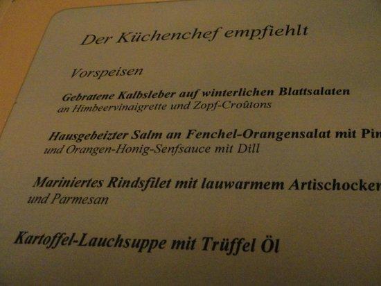 Park-Hotel Bad Zurzach: Die Speisekarte