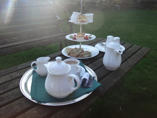 The Shelleys: Afternoon tea on the menu includes pot of tea, scone with scone and jam, two cakes, and sandwich