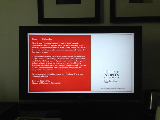 Four Points by Sheraton Sheikh Zayed Road, Dubai : Hotel Welcome Message