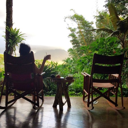 Lost Iguana Resort & Spa: View of the jungle and Arenal (covered in clouds) from private terrace.