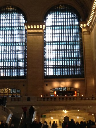 Michael Jordan's The Steak House N.Y.C.: view of the restaurant balcony from the floor of Grand Central
