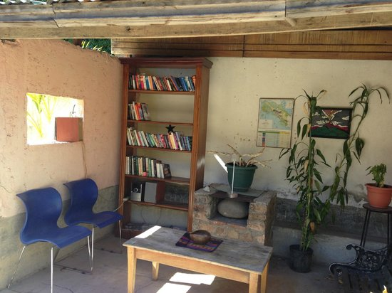 Cafe Liberia: outdoor library and sitting area