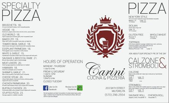 Carini Cucina & Pizzeria: Carini Menu Pizza