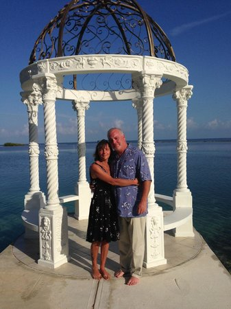 Sandals Royal Caribbean Resort and Private Island : Rachel and I enjoying the crystal clear blue water in the background