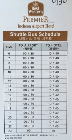 BEST WESTERN Premier Incheon Airport: Shuttle Bus Schedule