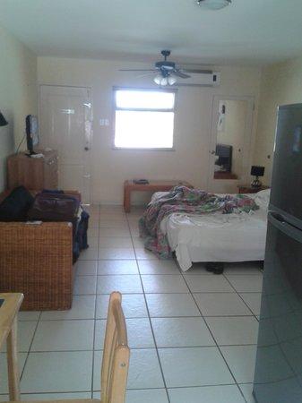Camacuri Apartments Aruba: habitación grande, salón cocina y cama