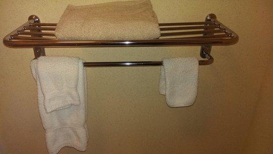 Baymont Inn & Suites Tuscaloosa : Provided Towels on Broken Shelf