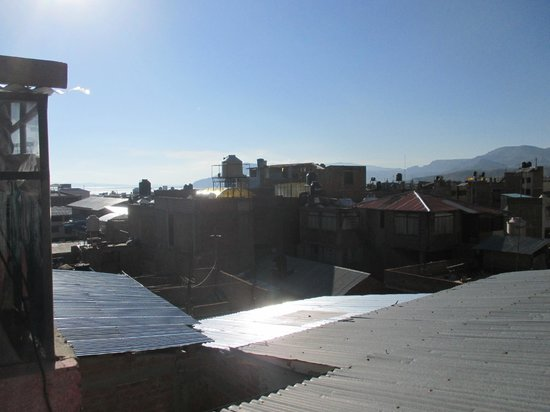 Bothy Puno: View from the roof. You can see Lake Titicaca in the distance.