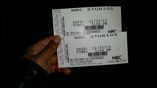 The Tour at NBC Studios: My tickets