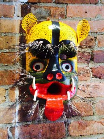 Lucy's CuCu Cabaña: Mask in the breakfast nook of Encore B&B
