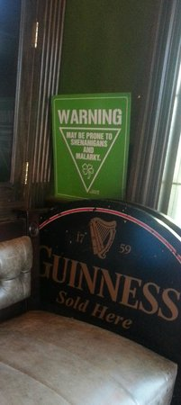 Grace O'Malley's Irish Pub: Funny sign in very small waiting area at Grace O'Malley's Ruidoso NM