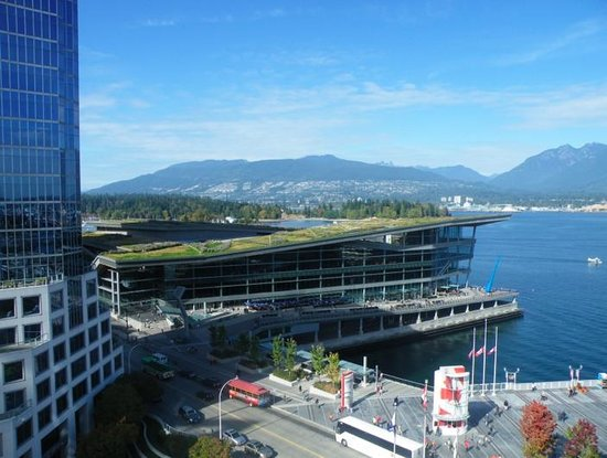 Fairmont Waterfront: View from our suite.views of the Vancouver harbor, the convention center, mountains and Stanley