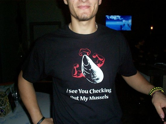 mussel beach restaurant: Various T-shirts are available for sale; I got one for my son.