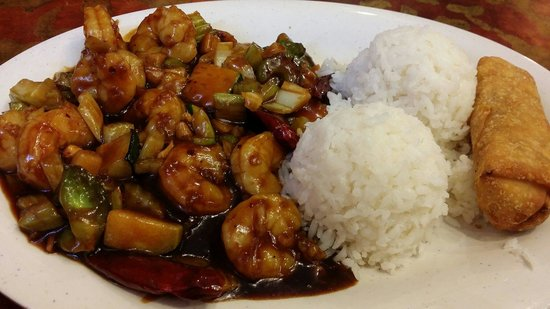 Taiwan Dragon: shrimp szechuan served with steam rice & veg. eggroll.