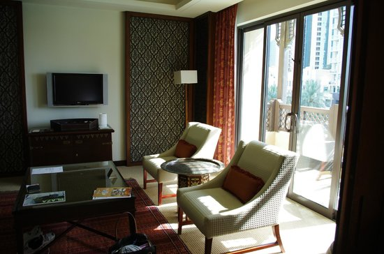 The Palace Downtown Dubai: Part of lounge room, and looking out onto balcony