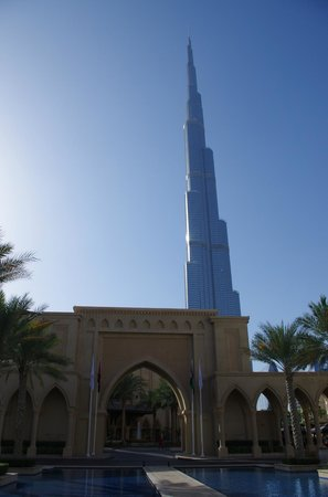 The Palace Downtown Dubai: Front entrance to hotel (beautiful) with Burj Khalifa just behind