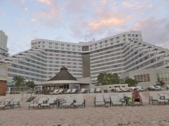 ME Cancun: View of hotel from the beach