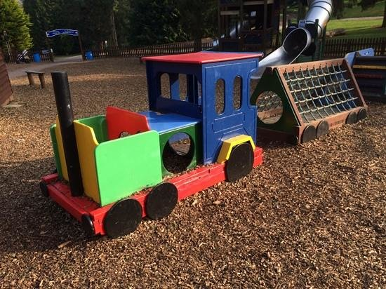 Bicton Park Botanical Gardens: toy train in the childrens playground