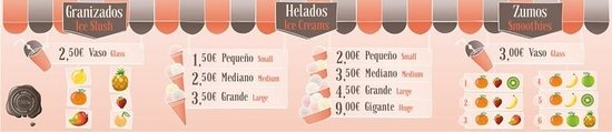 Helados San Nicolas: The new menu with larger offer ice cream ice slush and smoothies. El nuevo menú con amplias cosa