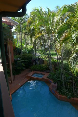 Bermuda Villas: View from balcony of Apartment 11, including shared heated pool