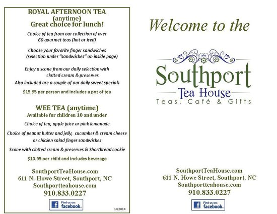 Southport Tea House: Menu