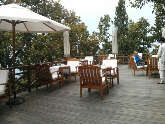 Ananda in the Himalayas: Outdoor deck of the restaurant