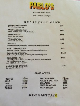 Pablo's Restaurant: Breakfast Menu