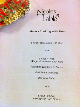 Nicole's Table: This was a change. Our guests asked for ribs so I made a spicy rum BBQ sauce. Fun!