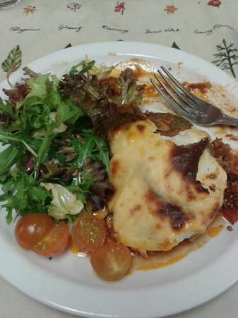 Herb Garden Cafe: Lamb moussaka and a well-dressed salad