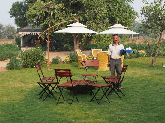 Orchard Hospitality Pvt Ltd: Area for tea in center of tents