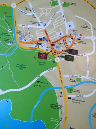 Killarney Towers Hotel & Leisure Centre : Map showing central location