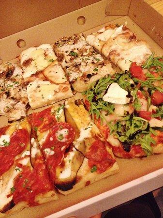 La Pizzateca: Truffle, 5 cheese, arugula brie, eggplant and chorizo