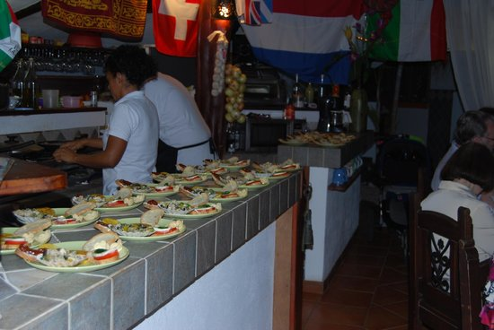 The appetizers at the reception dinner at Villas Kalimba