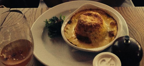 The Engine Room : Twice baked goats cheese souffle yum!