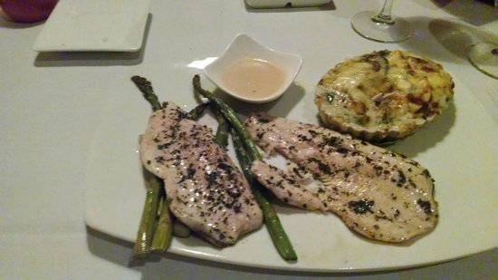Local Chop and Grill House : Trout, Asparagus, Mushroom & Squash casserole