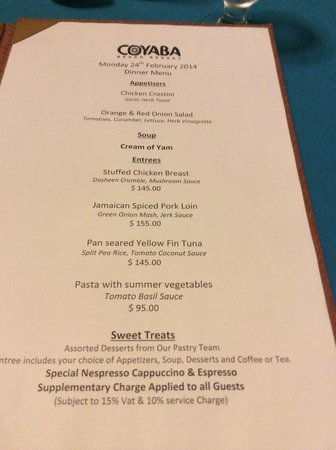 Coyaba Beach Resort : Example evening menu