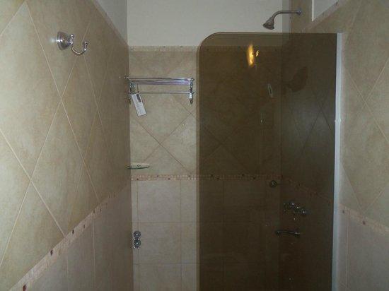 Hotel Jardín de Iguazú: baño con  mampara  y toalleros.