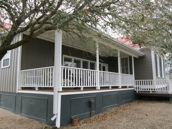 Texas Ranch Life Accommodation: Back porch with swing, tables, chairs, smoker & views!
