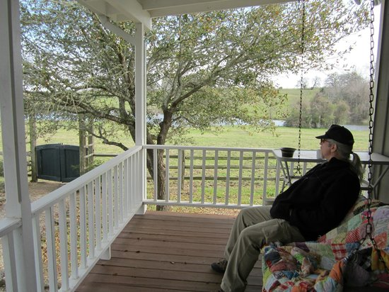 Texas Ranch Life Accommodation: Back porch swing