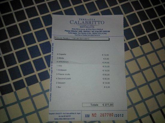 il famigerato conto - Foto di Terrazza Calabritto, Napoli - TripAdvisor