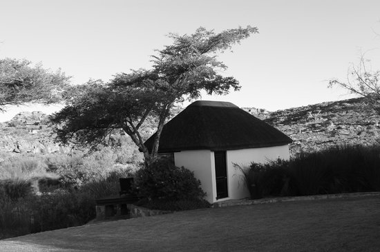 Bushmans Kloof Wilderness Reserve & Wellness Retreat: View from our lodge shot in B&W for a different view