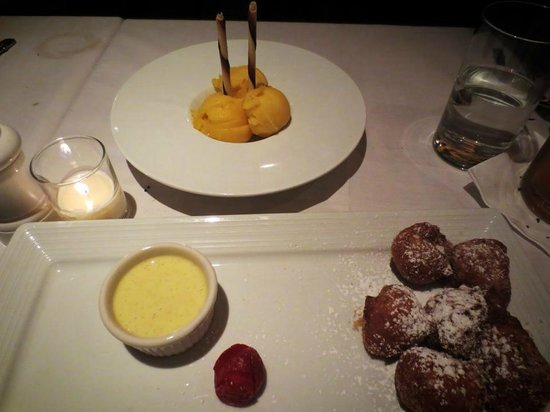 Wild Fig: mango sorbe and beignets-decadent!