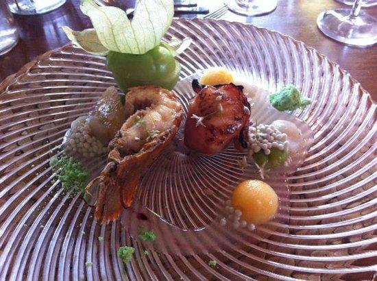 "Ten Twenty Four Nz: Game fish tournedo, scallops and slipper lobster plus wasabi pearl caviar and wasabi ""sherbert"""