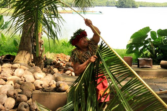 Tropical Farms Macadamia Nut Farm and Farm Tour: our awesome guide showing us how to make things with palm leaves