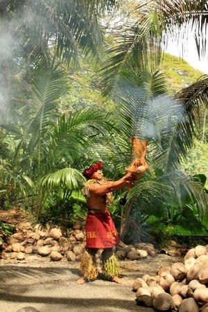 Tropical Farms Macadamia Nut Farm and Farm Tour: Lighting a cocnut on fire using only sticks