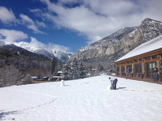 Mount Princeton Historic Bath House & Hot Springs: from outside the pavilion - playing in the snow